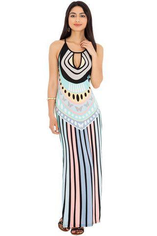 Brianne Printed Side Split Summer Maxi Dress – Juicy Secrets