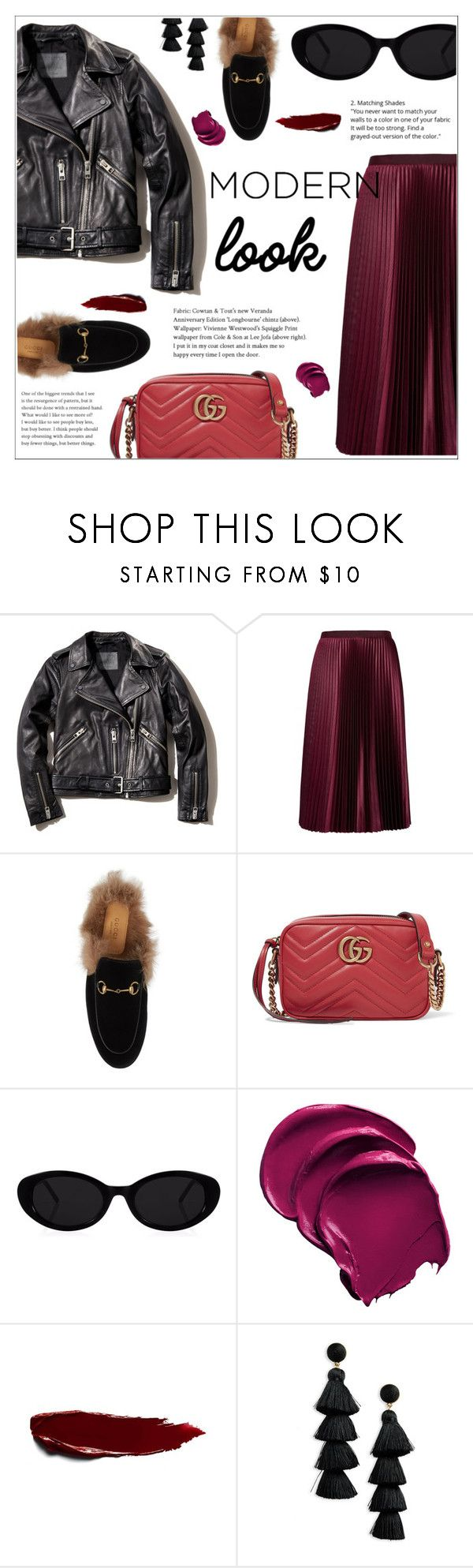 """""""MODERN STYLE"""" by ifip ❤ liked on Polyvore featuring AllSaints, Ted Baker, Gucci, BaubleBar and modern"""