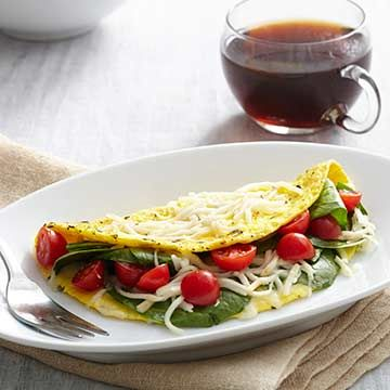Diabetic Breakfasts That Boost Your Energy:  Spinach and Italian Cheese Omelet