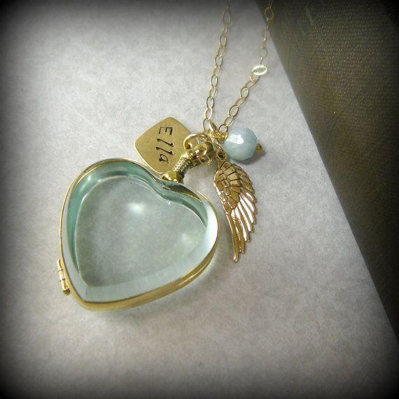 Angel Wing Memory Locket Necklace Glass Locket Heart