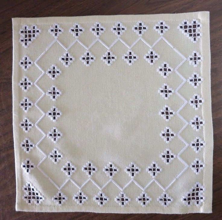 "HAND EMBROIDERED HARDANGER DOILY - SOFT YELLOW - WHITE EMBROIDERY - 14.75"" Sq  #Handmade"