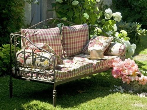 faded plaid + floral cushions and pillows for porch