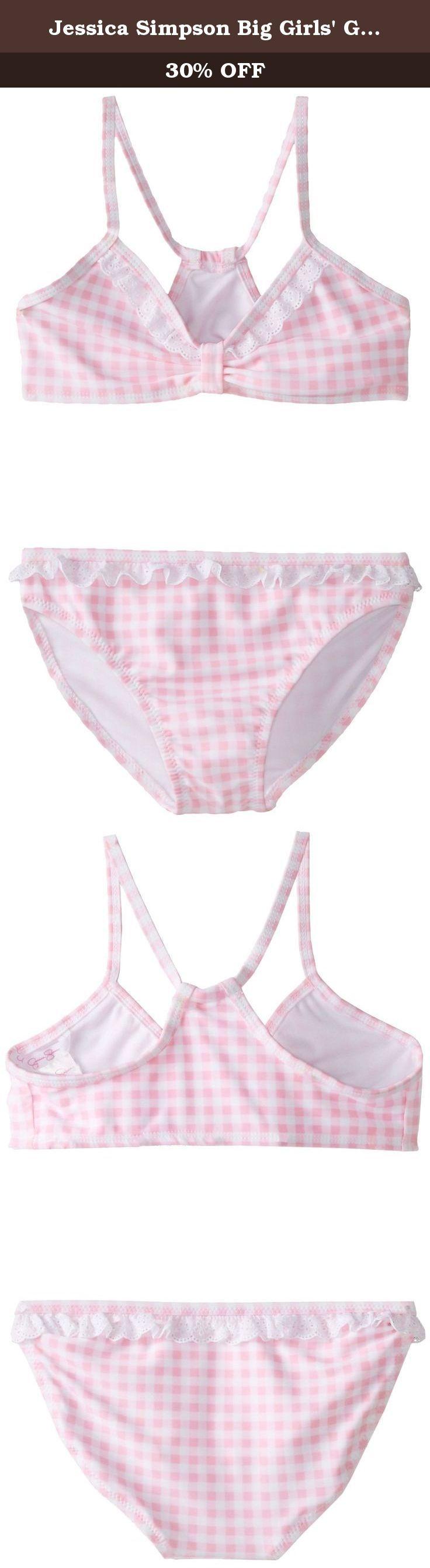 Jessica Simpson Big Girls' Gingham Bikini, Pink, 8. Girls swimwear.