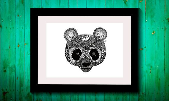 Wall Art,Drawing,Illustration,Zentangle,Art,Print,Home Decor,Wall Decor,Modern,Creative,Gift Idea,Original Illustration,Panda,Nature