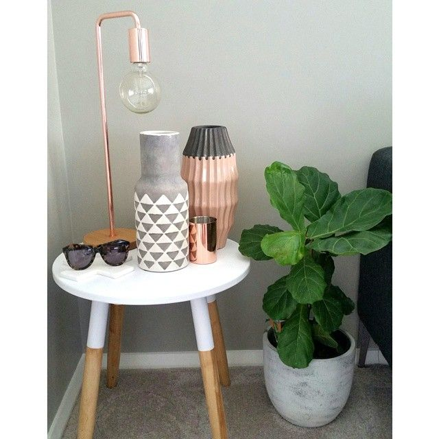 Dipped side table or stool with copper and concrete accents. Also the concrete egg planter pot. #kmartaus Instagram photos | Websta