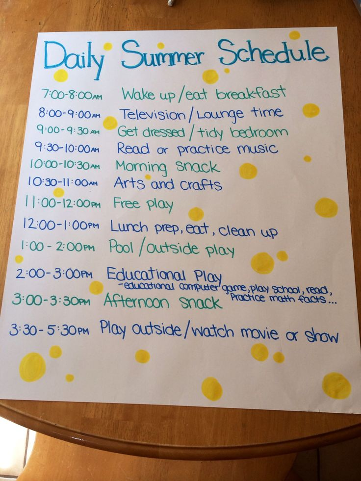 Stay organized with a daily summer schedule for kids!