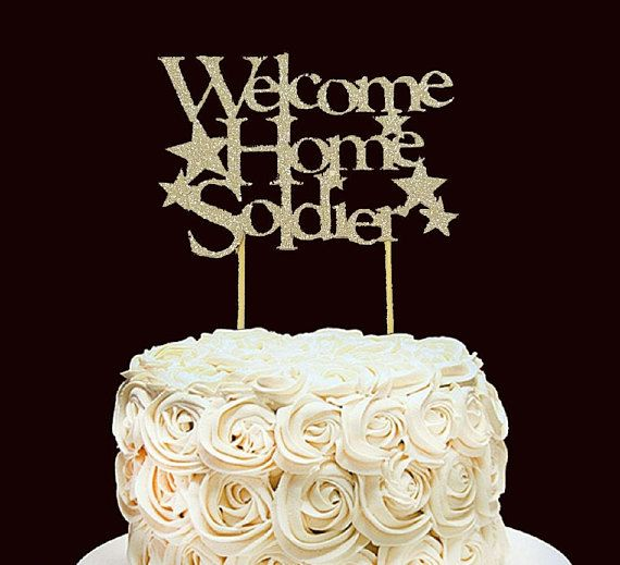 Welcome Home Soldier cake topper-military cake topper-large