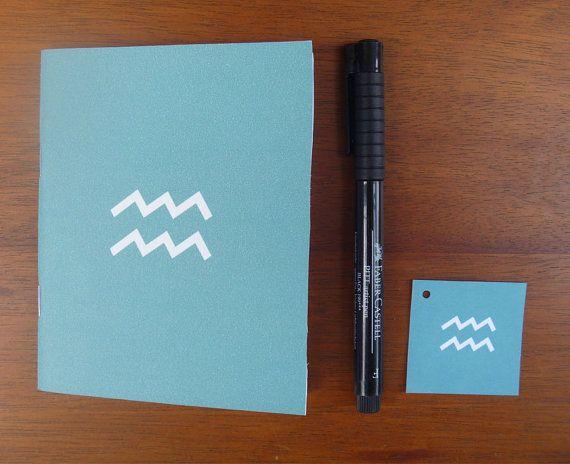 WATERMAN notebook / / zodiac sign dagboek / / 4 x 5 inch turquoise dagboek / / astrologie thema / / Aquarius symbool