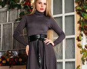 Серое платье Макси, Платье на Весну, Офисный стиль, Платье на Осень, Длинный рукав / Качественное дизайнерское платье, Зимнее платье.