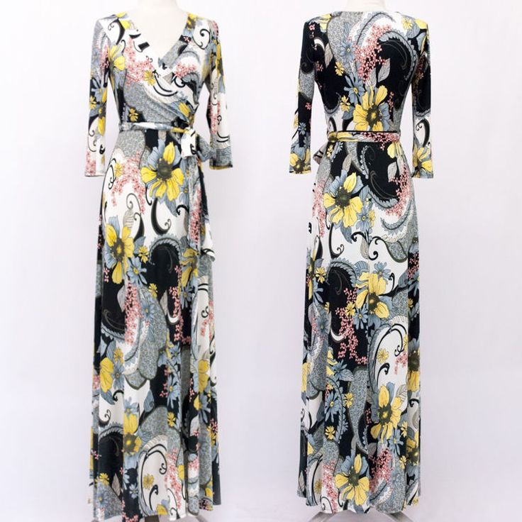 Gray and yellow maxi dress