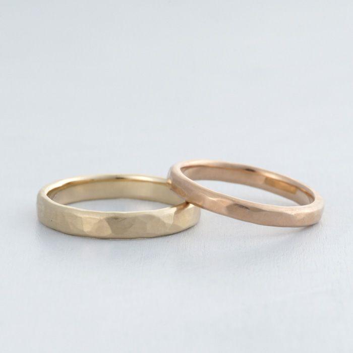 マリッジリング:Tsutime kunpu(槌目 薫風) つや消しの優しい輝きにランダムな槌目。 K18 Gold K18PG ピンクゴールド マリッジリング marriage ウエディング wedding