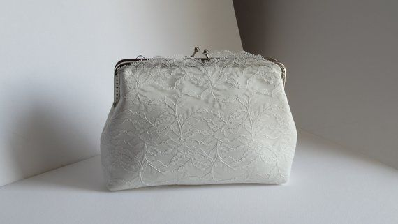 Bridal Ivory Clutch Satin Bag Lace Silver Metal Frame Bride Purse Made To Order