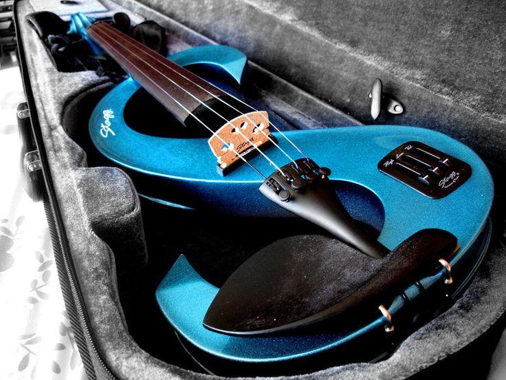 Blue electric violin