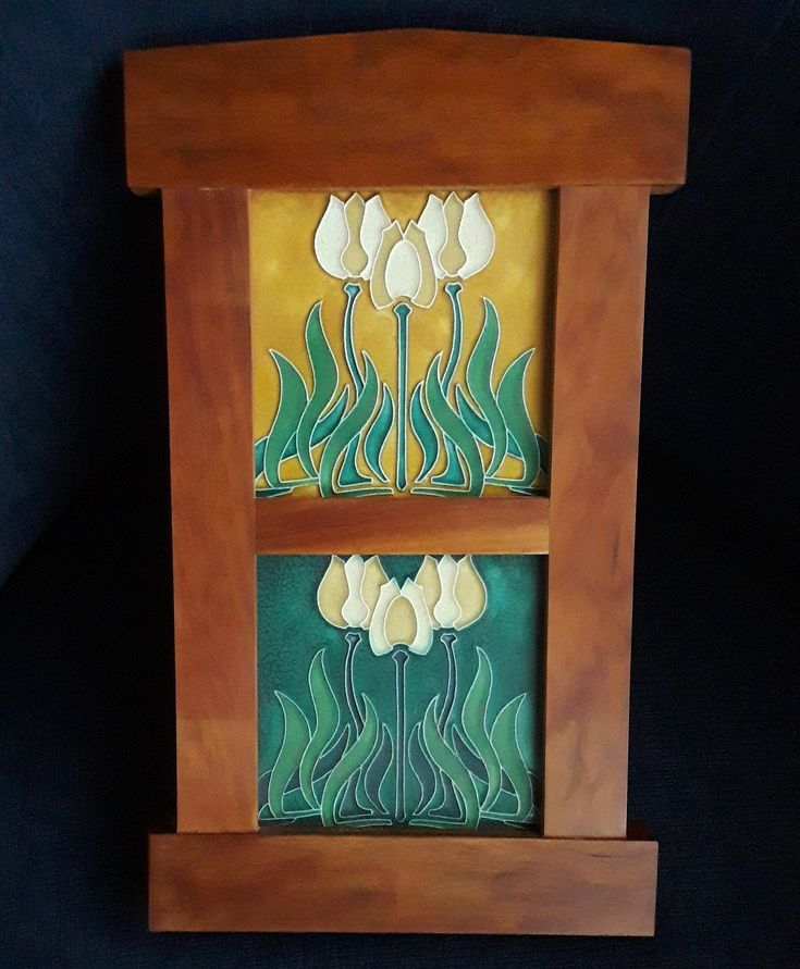 Motawi Tileworks Tiles matched pair of early Motawi 5.75 tiles with different color combinations in cherry wood frame