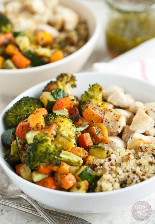 Chicken and Roasted Vegetable Quinoa Bowls   – Food