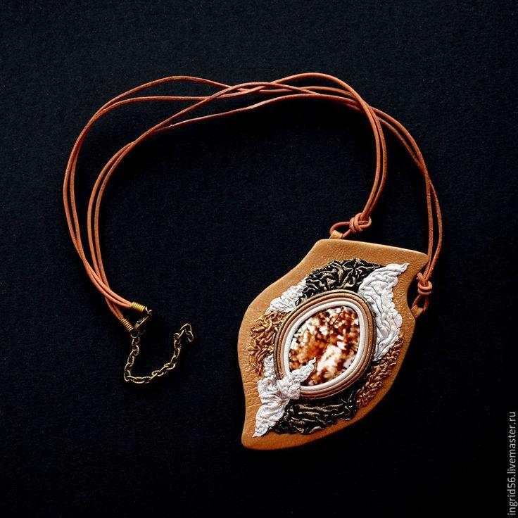 Купить Кулон из натуральной кожи Амазонка с агатом крупный - кулон из кожи, кожаный кулон