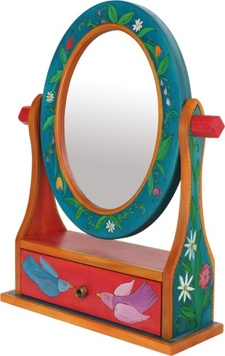 Small Oval Mirror w/ Drawer