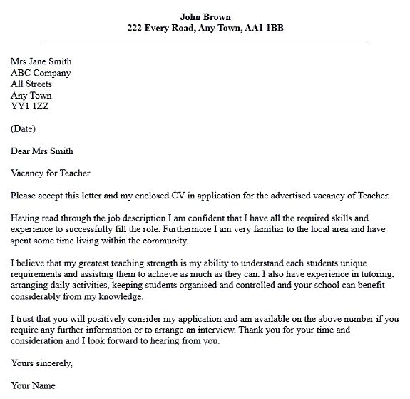letter application for teaching cover samples teachers