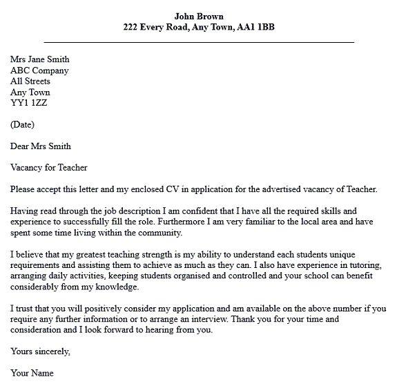 cover letter for teaching jobs