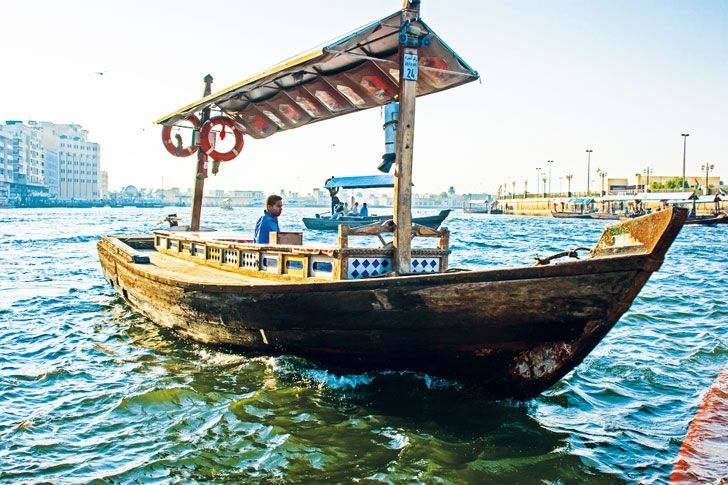 The best way to see the impressive buildings that have sprung up along Dubai Creek is from the waterway through an abra.