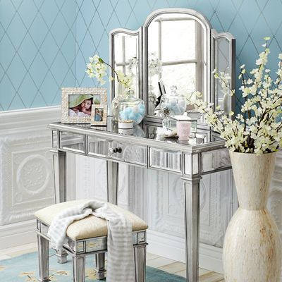 "Hayworth Mirror and Vanity - Silver on sale $349.99 for vanity table and $169.99 for mirror / Vanity: 42""W x 18""D x 31""H / Mirror: 39""W x 1""D x 24""H"