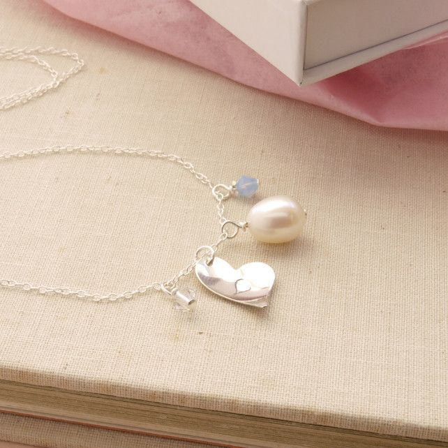 Personalised Heart Necklace - Sterling Silver Initial Heart Charm Necklace £32.00