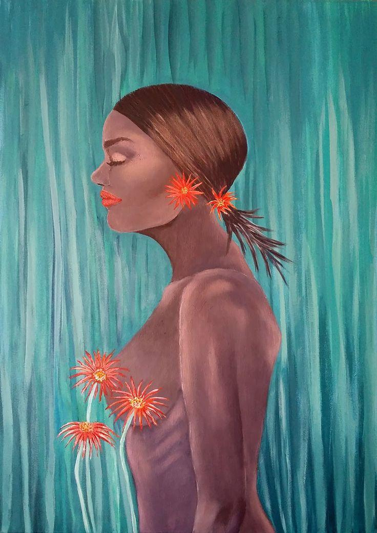#African Daisy by İlayda Yücel Tuval üzerine #Akrilik / #Acryliconcanvas 50cm x 70cm 2.500₺ / 750$  #gallerymak #resim #sergi #galeri #ig_sanat #acrylicpainting #mimar #contemporaryistanbul #zerafet #sanat #artoftheday #modernart #modernsanat #portrait #africa #afrika #painter #figurative #art #artist #arte #artsy #instaart #contemporary #contemporaryart #artcollective #finearts
