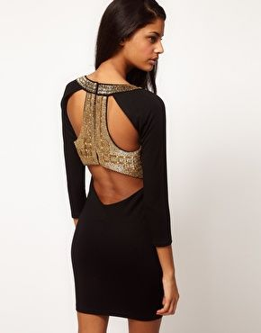 Enlarge ASOS Body-Conscious Dress With Embellished Back