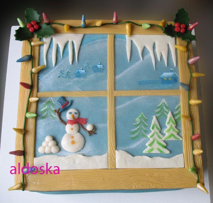 Winter window - by aldoska @ CakesDecor.com - cake decorating website