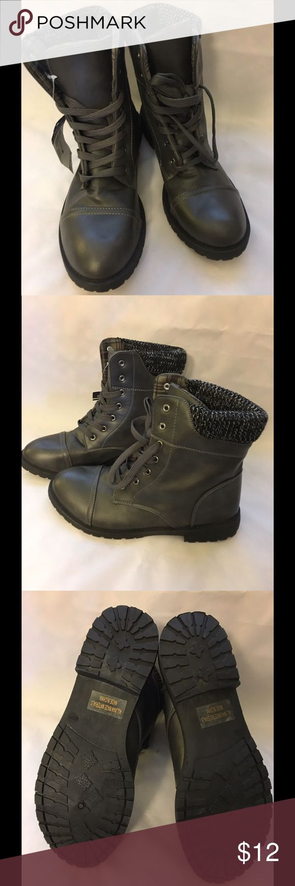 NWT Dark Gray Fashion Combat Boots Brand new with tags Rue21 lace up fashion boots. Rue 21 Shoes Lace Up Boots