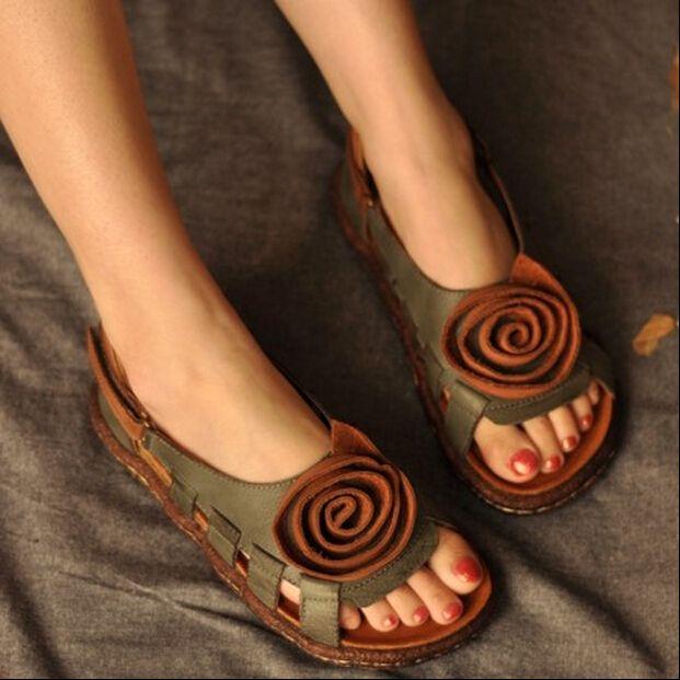 Старинные ручной кожаные сандалии национальный тенденция цветок обувь мягкая подошва широкий удобные сандалии бесплатная доставка
