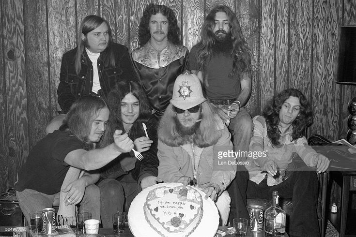 Ronnie Van Zant, Ed King, Gary Rossington, Billy Powell, Leon Wilkeson, Artemis Pyle, Allen Collins, backstage at the Capitol Theater, Passaic New Jersey.