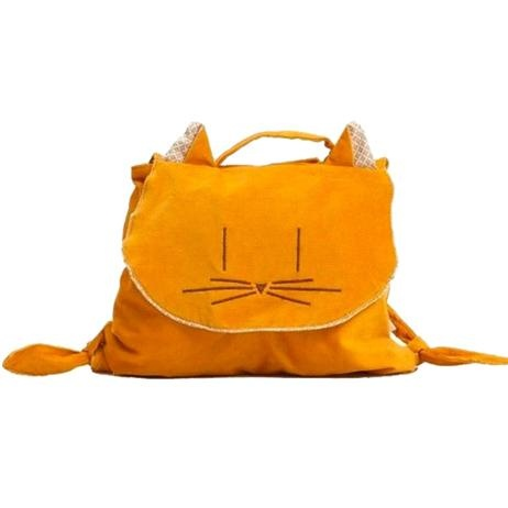 Manuella Backpack - Yellow Kitty    Price: $29.95    The gorgeous & versatile Yellow Kittie Manuella Backpack can be used as a backpack or carried as a handbag! Your little style setter will be the envy of all - the plush corduroy backpack is perfect for play dates, shopping trips and birthday parties!