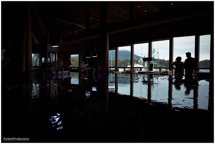 Ucluelet Aquarium Wedding Venue. Silhouette of Bride and Groom.