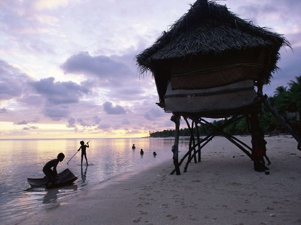 Kiribati geography surround by ocean and extremely small islands.