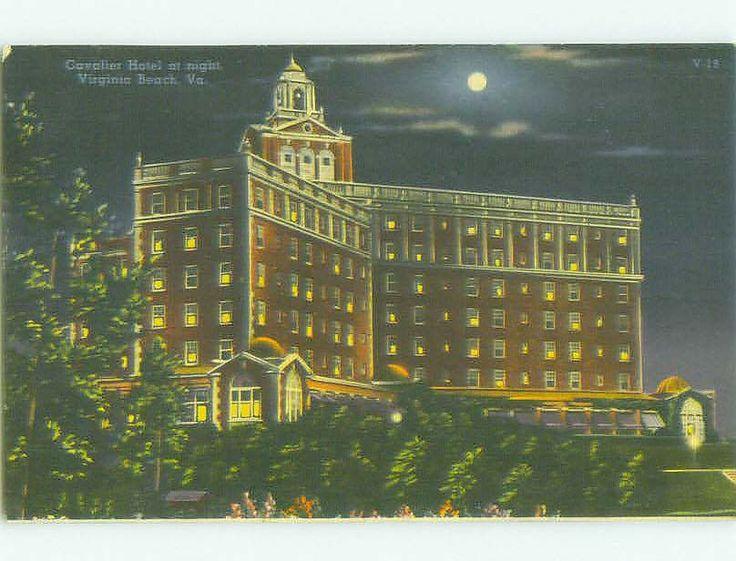 Linen CAVALIER HOTEL AT NIGHT Virginia Beach Virginia VA HQ3663
