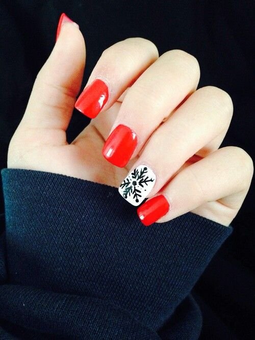 Winter nails with a snowflake