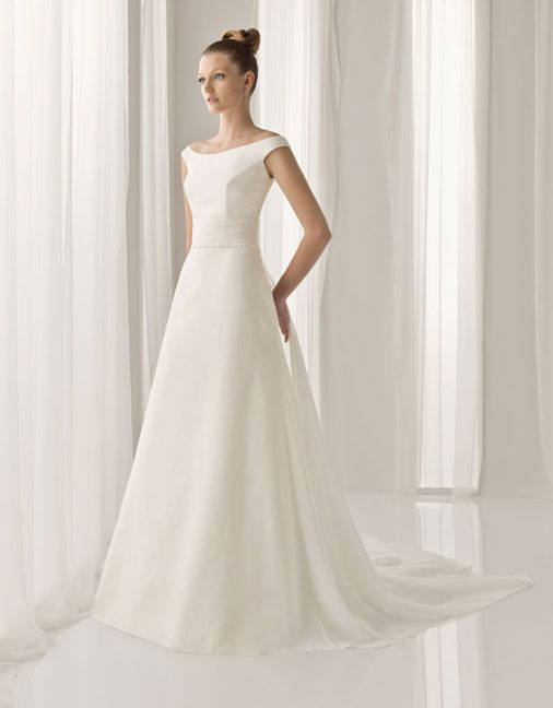 A-line Gauze Bateau Off the shoulder Sweep Natural Wedding Dresses, wedding gowns,