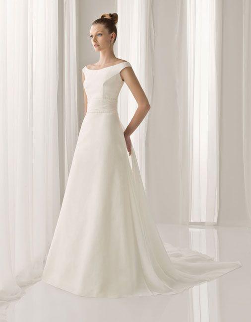 A-line Gauze Bateau Off the shoulder Sweep Natural Wedding Dresses, wedding gowns,