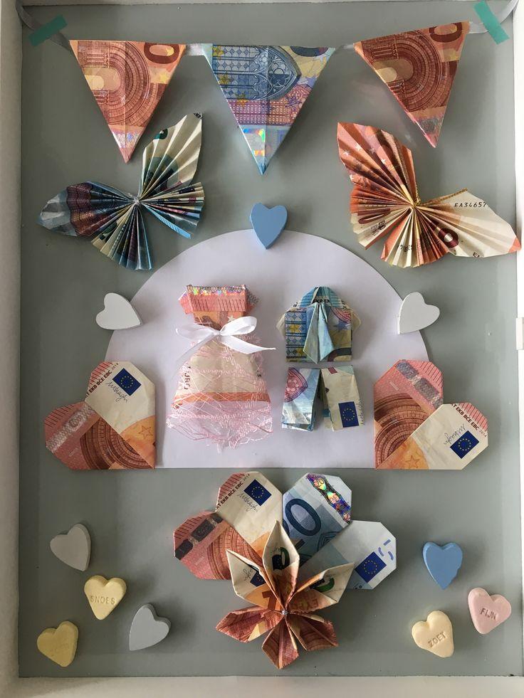 Idee: gevouwen geld voor een bruiloft (vlaggen, vlinders, hartjes, bloem, jurk en pak).