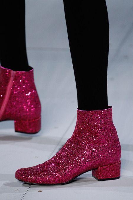 Saint Laurent A/W 14, botas rosa, glitter pink boots, botas con purpurina…