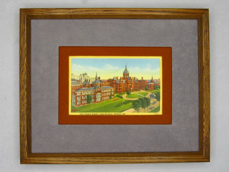 Johns Hopkins Hospital North Broadway Baltimore Maryland 1934 linen style double matted original postcard.  Standard size. Eco-friendly. by PopArtPaperAmericana on Etsy