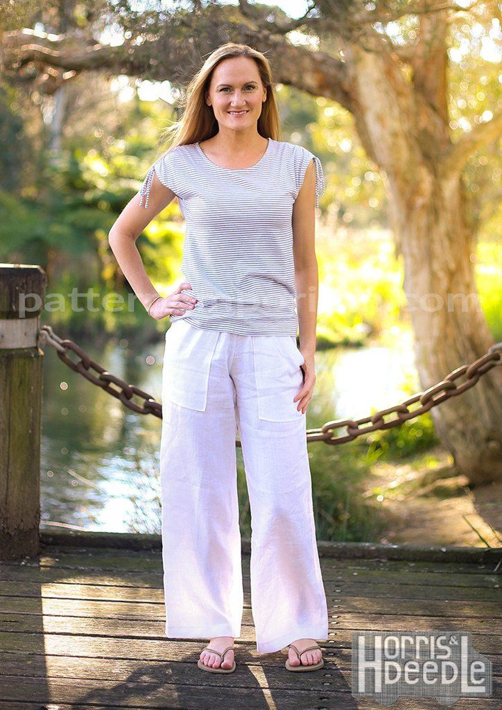 Ladies Coco Wide Leg Pants sewing pattern. Sew a pair of on-trend, wide legs pants. With easy fitting & flattering lines, choose from 3 different waistbands (topstitched, exposed elastic or stretch knit), mid or low-rise waistline, 2 pockets designs, full length pant or Culottes - including cutting lines for Regular & Tall.