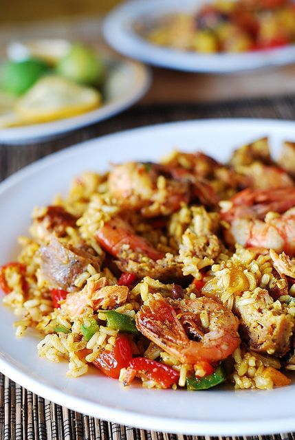 Paella with chicken, shrimp, and sausage by JuliasAlbum.com, via Flickr  I left out the green pepper, chili powder, and turmeric. And I used spicy sausage and 2 packages of Yellow Rice that is already seasoned with saffron.