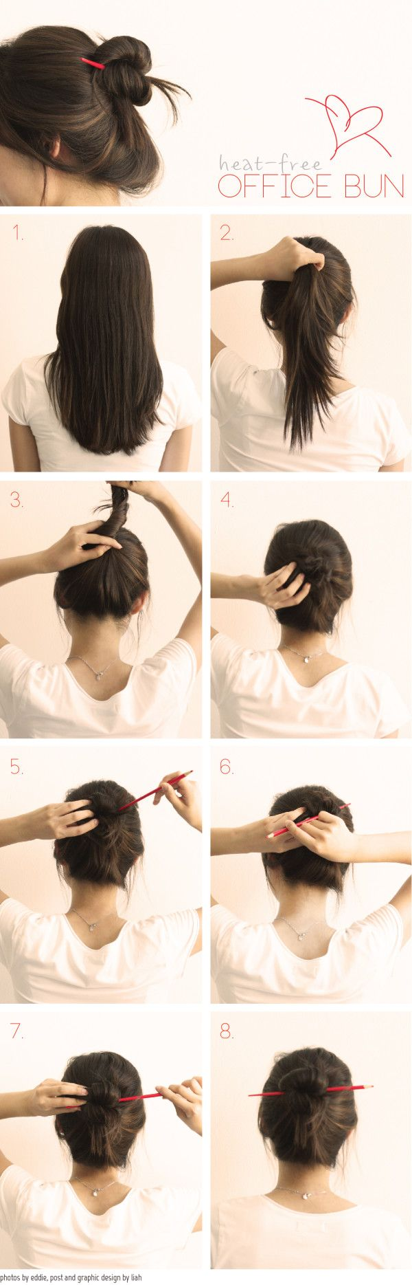 Hello pretties! Today I'm finally here with a hair tutorial, which I think it's a basic skill to have! It's making a casual bun if you're out of hair bands or bobbi pins. This hair is great when you're in the office or at school and you have only pens and pencils to utilize as a hair tool. This is the way where lots of Korean girls used to do at school and the pencil trick was motivated from a very traditional accessory called Binyue. Really simple and heat-free!   1. Start off with…