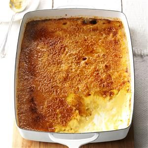 Caramel Creme Brulee Recipe -This recipe comes out perfect every time and it's always a crowd pleaser! A torch works best to get the sugar caramelized while keeping the rest of the custard cool. You may want to use even more sugar to create a thicker, more even crust on top. —Jenna Fleming, Lowville, New York