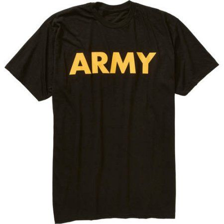 Men's Military Officially Licensed Army Workout Tee, Size: Large, Black