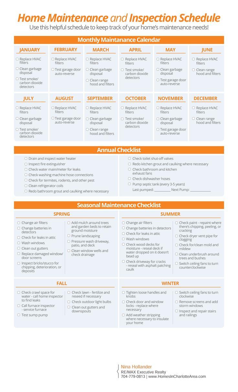 Home Maintenance Schedule And Checklist Home Maintenance