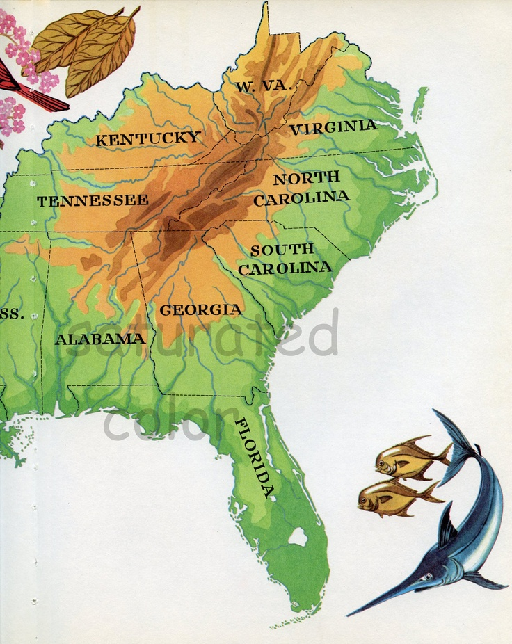 Vintage The South USA Map - Retro Colorful 1960s illustrated map of The South USA Florida Louisiana Mississippi Carolina Georgia Virginia. $8.00, via Etsy.