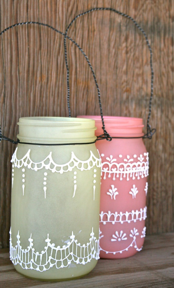 Hanging Mason Jar Lantern tinted light frosty yellow by LucentJane, $25.00